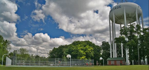 Haverhill Park Water Tower with other amenities in the distance
